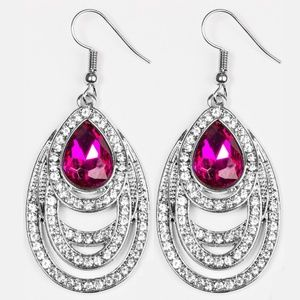 Earrings - You're The GLAM! Pink Gem